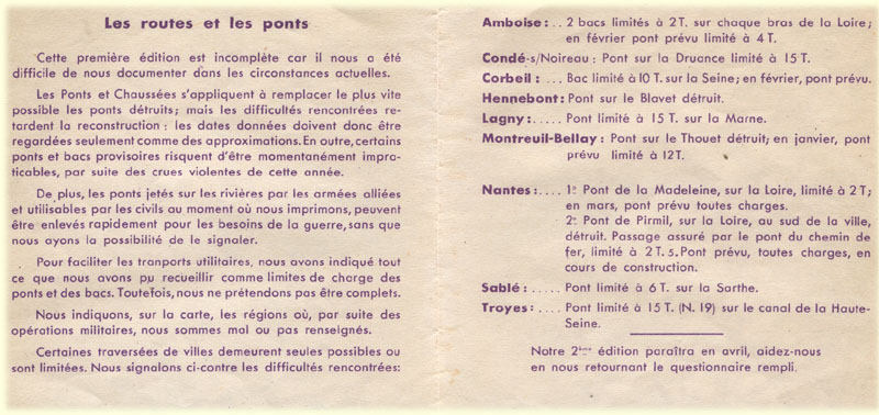 Legende des cartes Michelin routes et ponts 1945