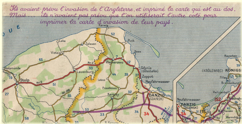 Extrait carte Michelin 163 de 1945