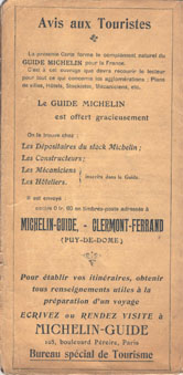 Michelin map back cover 1910